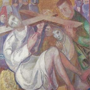 Passion-64-T7-Jesus-stuerzt-zum-zweiten-Male-und-Simon-hilft-ihm-das-Kreuz-tragen